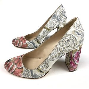 Nine West Leroux Floral Fabric Chunky Heels Size 8